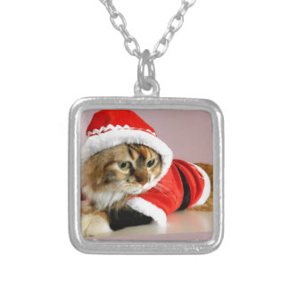 Merry Christmas kitty cat Santa suit Personalized Necklace