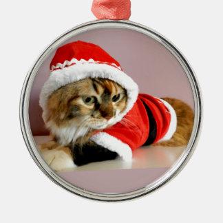 Merry Christmas kitty cat Santa suit Round Metal Christmas Ornament