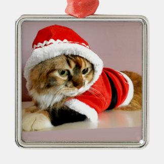 Merry Christmas kitty cat Santa suit Square Metal Christmas Ornament