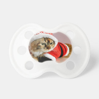 Merry Christmas kitty cat Santa suit Pacifiers