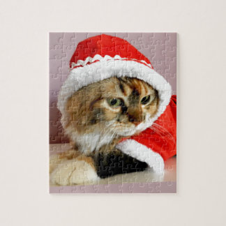 Merry Christmas kitty cat Santa suit Puzzles