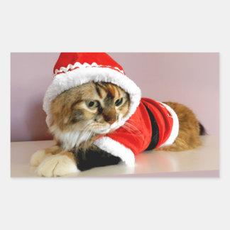 Merry Christmas kitty cat Santa suit Rectangular Sticker