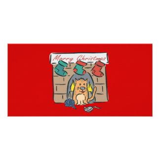 Merry Christmas Kitty Stockings Card