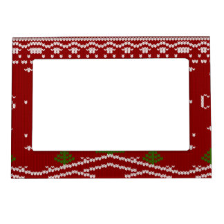 merry Christmas,knitting,pattern,green,red,cozy,tr Magnetic Photo Frame