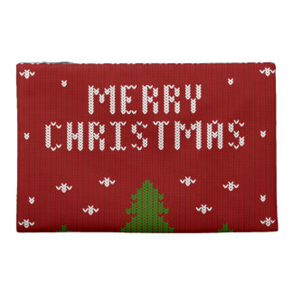 merry Christmas,knitting,pattern,green,red,cozy,tr Travel Accessories Bags