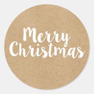 Merry Christmas | Kraft | Round Stickers
