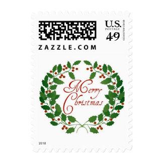 Merry Christmas l Elegant Vintage Wreath Postage Stamp