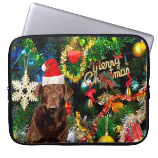 Merry Christmas Labrador Retriever Dog Santa Hat Laptop Sleeve