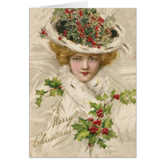Merry Christmas Lady in Hat Greeting Card