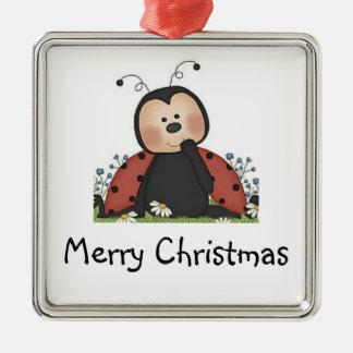 Merry Christmas Ladybug Metal Ornament