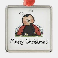 Merry Christmas Ladybug Square Metal Christmas Ornament