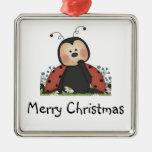 Merry Christmas Ladybug Square Metal Christmas Ornament