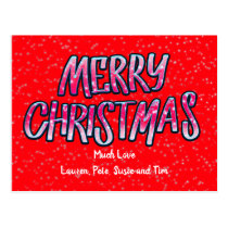 Merry Christmas/Large Cartoon Style Font Postcard