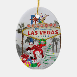 Merry Christmas Las Vegas Santa Ornament