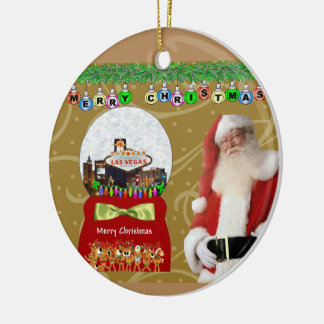 Merry Christmas Las Vegas Snowball Santa Ornament
