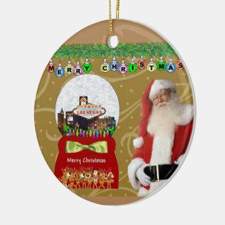 Merry Christmas Las Vegas Snowball Santa Ornament