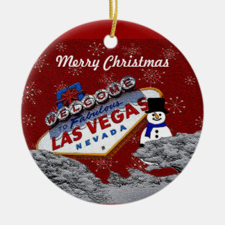 Merry Christmas Las Vegas Snowman Ornament
