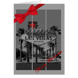 Merry Christmas Las Vegas with Red Bow Card