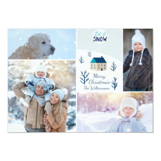 Merry Christmas Let it Snow Holiday Photo Collage Card