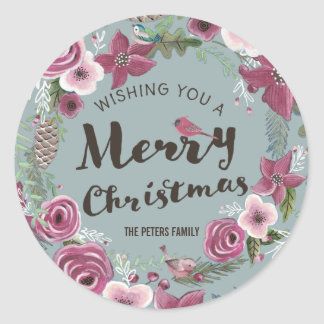 Merry Christmas Letter Floral Wreath | Sticker