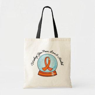 Merry Christmas Leukemia Ribbon Snowglobe Tote Bags
