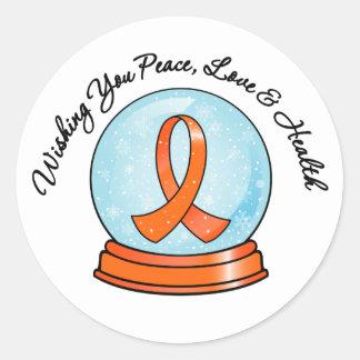 Merry Christmas Leukemia Ribbon Snowglobe Classic Round Sticker