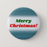 [ Thumbnail: Merry Christmas! + Light Blue & Black Wave Pattern Button ]
