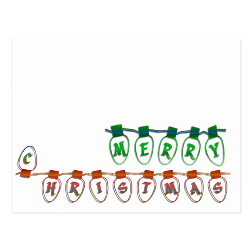 merry christmas light bulbs postcard