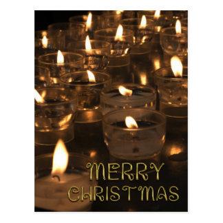 Merry Christmas Lights Candles Candlelight Postcard