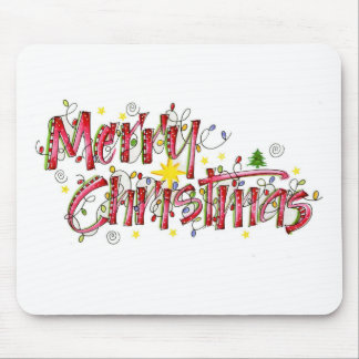 Merry Christmas lights Mouse Pad