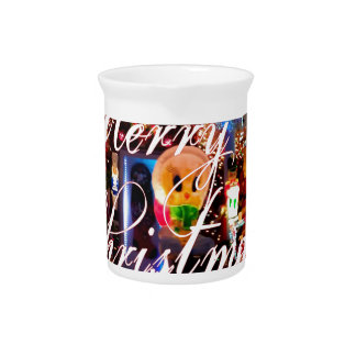 Merry Christmas Lights on House Beverage Pitcher