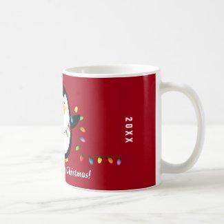 Merry Christmas Lights Penguin Holiday Mug