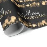 Merry Christmas Lights Snowflakes Sparkles Gold Gift Wrap