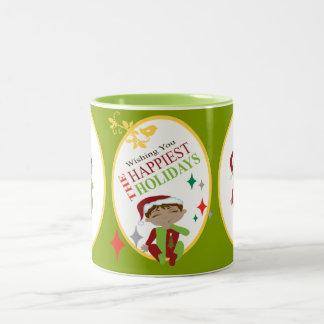 Merry Christmas Little Boy Two-Tone Coffee Mug