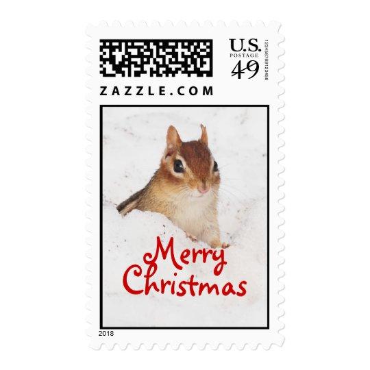 Merry Christmas Little Snowy Chipmunk Postage