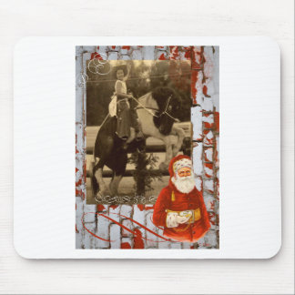 Merry Christmas Little Vintage Cowgirl Horse Mouse Pad