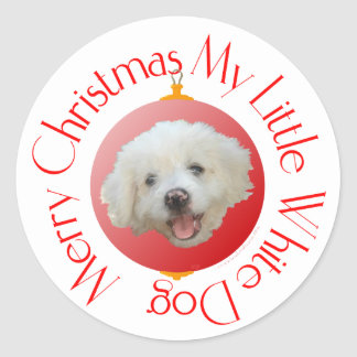Merry Christmas Little White Dog Classic Round Sticker