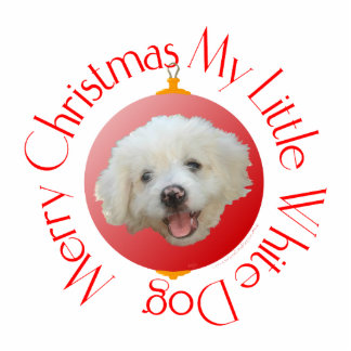 Merry Christmas Little White Dog Cutout
