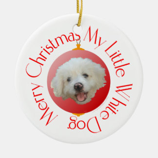 Merry Christmas Little White Dog Double-Sided Ceramic Round Christmas Ornament