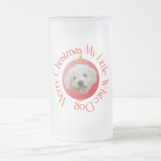 Merry Christmas Little White Dog Frosted Glass Beer Mug