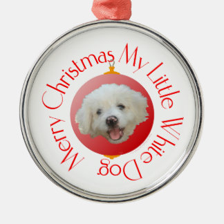 Merry Christmas Little White Dog Metal Ornament