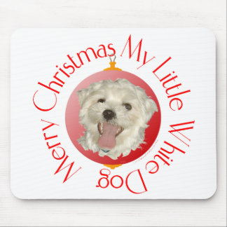 Merry Christmas Little White Dog Mouse Pad