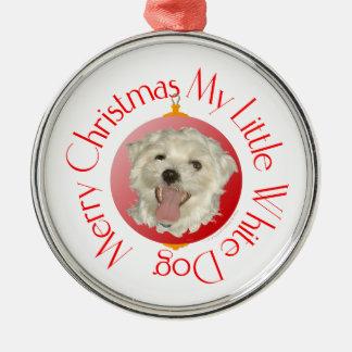 Merry Christmas Little White Dog Christmas Tree Ornaments