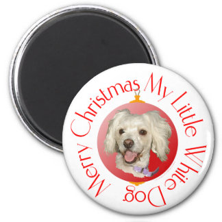Merry Christmas Little White Dog Poodle / Bichon 2 Inch Round Magnet