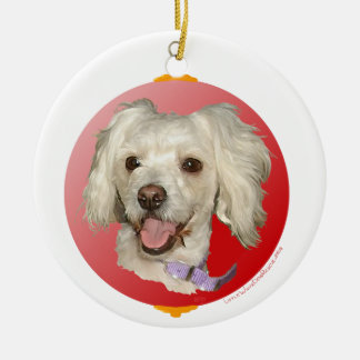 Merry Christmas Little White Dog Poodle / Bichon Ceramic Ornament