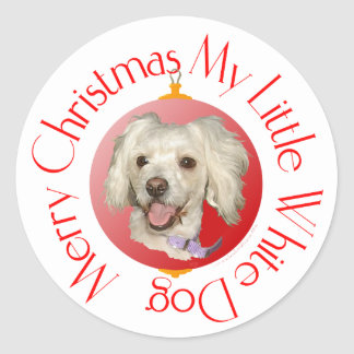 Merry Christmas Little White Dog Poodle / Bichon Classic Round Sticker