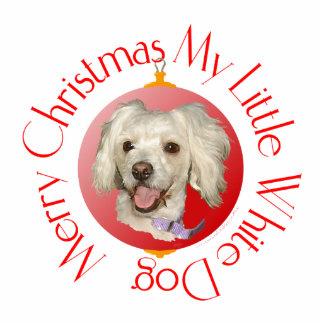 Merry Christmas Little White Dog Poodle / Bichon Cutout