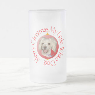 Merry Christmas Little White Dog Poodle / Bichon Frosted Glass Beer Mug