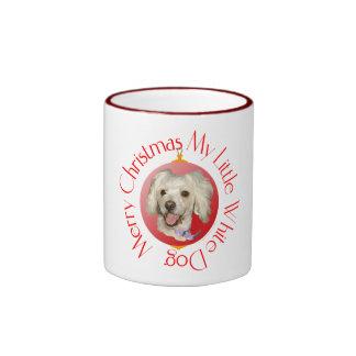 Merry Christmas Little White Dog Poodle / Bichon Ringer Mug