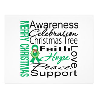 """Merry Christmas Liver Cancer Ribbon Collage 8.5"""" X 11"""" Flyer"""